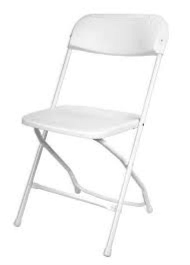 Where to find CHAIR, FOLD WED WHT POLY in Michigan City